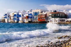 Little Venice and waves, Mykonos island, Greece Royalty Free Stock Photography