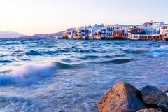 Little Venice and waves, Mykonos island, Greece Royalty Free Stock Photos