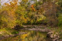The Little Vermillion. Beginning of Autumn, Little Vermillion River, Illinois Royalty Free Stock Image