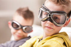 Little video game pilots boys Royalty Free Stock Image