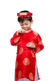Little Vietnamese boy holding red envelops for Tet. The word mea Royalty Free Stock Images
