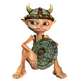Little Viking. 3d rendering a Viking in sitting pose as illustration Royalty Free Stock Images