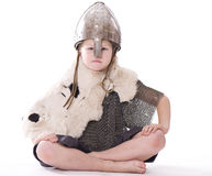 Little viking sits Stock Photo