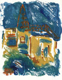 Little vilage church. Hand painted picture, little village church Royalty Free Stock Photography