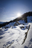 Little village on the alps in winter Stock Images