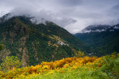 Little village Canejan. Aran Valley, Spain. Royalty Free Stock Images