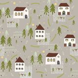 Little Village Church House n Trees Vector Pattern stock illustration