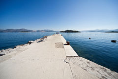 Little village harbour Croatia. Old Mediterranean village sea and blue skyes boats stock photography