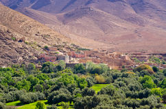 Little village and oasis, Morocco Stock Image