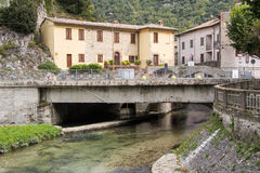 Little village on the river Potenza Stock Image