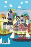 Little village on the sea. Sight on a imaginary little village on the sea with boats Royalty Free Stock Photo