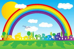 Little village silhouette with rainbow Stock Image