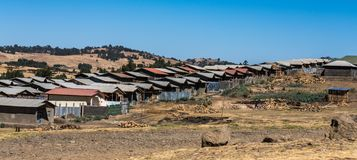 A little village in the Simien Mountains in Northern Ethiopia royalty free stock photo