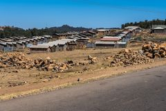 A little village in the Simien Mountains in Northern Ethiopia stock photo