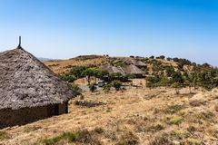 A little village in the Simien Mountains in Northern Ethiopia stock photos