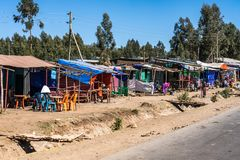 A little village in the Simien Mountains in Northern Ethiopia royalty free stock images
