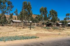 A little village in the Simien Mountains in Northern Ethiopia stock image