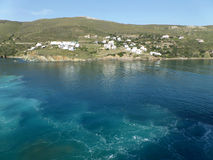 Little Village on a Small Island View from Leaving Cruise Ship, Cyclades Islands Royalty Free Stock Image