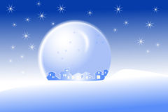 Little village in a snow-dome. Little village silhouette in a snow dome. Christmas background Stock Photo