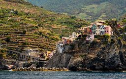 Little village on steep hill in italy royalty free stock photography