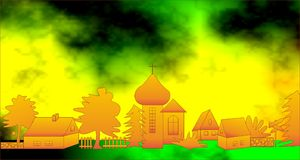Little village sunny. Little sunny village with the church and cottages Royalty Free Stock Photo