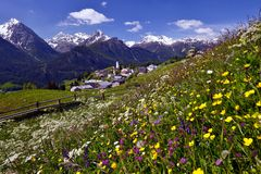 Little village in the Swiss Alps Stock Photo