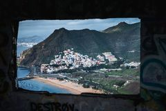 Little village in tenerife island view from the window stock photo