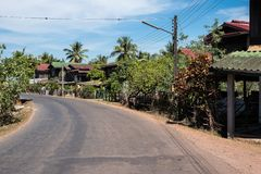 A little village on the way from Wat Phou to the Nakasong islands in Laos. royalty free stock images
