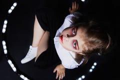 Little vimpire child.halloween make-up.dracula kid royalty free stock photos