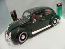 Little Volkswagen Beetle. My miniature of an old Volkswagen Beetle, mythical car produced in Germany since 1938 and sold all over the world Royalty Free Stock Photography