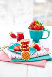 Little waffles and strawberries Stock Photos
