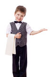 Little waiter with towel Royalty Free Stock Photo