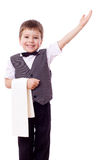 Little waiter with towel and pointing hand Stock Photo