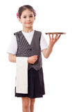 Little waitress with tray and towel Royalty Free Stock Photos