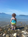 Little Water Gazer. Toddler on beach royalty free stock photo