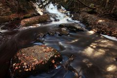 Little Waterfall with fall color. Stock Photography