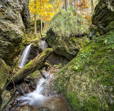 Little waterfall flows through a fairy tale forest Royalty Free Stock Photography