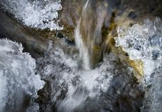 Little Waterfall in an Icy Mountain Brook Stock Image