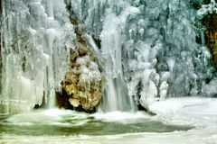 Little waterfall and needle ice Royalty Free Stock Images