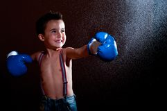 Little wet puncher makes lucky Royalty Free Stock Photo
