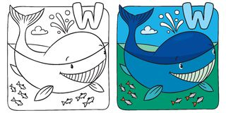 Little whale coloring book. Alphabet W Stock Photos