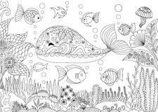 Little whale. Doodles design of a little whale under the sea with beautiful corals for adult coloring book - Stock Stock Photos