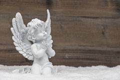 Little white angel ion wooden background. Little white guardian angel in snow on wooden background. vintage style christmas decoration Stock Image