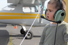 Little white boy in the airport Royalty Free Stock Images