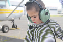 Little white boy in the airport Royalty Free Stock Photo