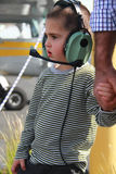Little white boy in the airport Stock Photo