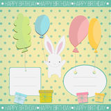 Little white bunny Birthday gift Royalty Free Stock Photo