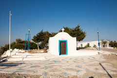 Little white chapel on the hill. Small church in Faliraki, Greek Royalty Free Stock Images