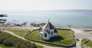Little White Church Next To The Ocean, Aerial View stock video footage