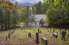A little white church resided in the Appalachian mountains. Stock Photography